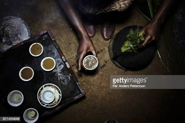 A traditional coffee ceremony in a house on December 3 2012 in Duberasha outside Bonga Ethiopia The Kaffa region is known for its coffee production...