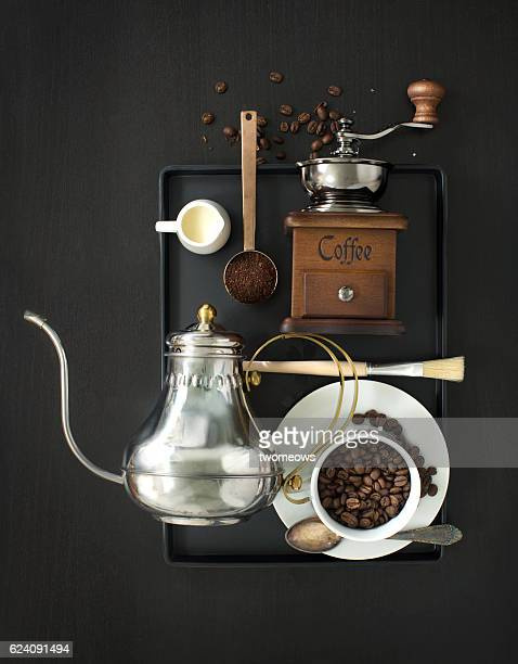 traditional coffee drink related objects. - ground coffee stock photos and pictures