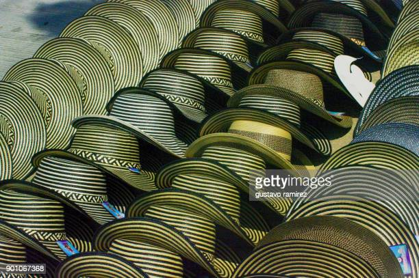 traditional colombian hats - barranquilla stock photos and pictures