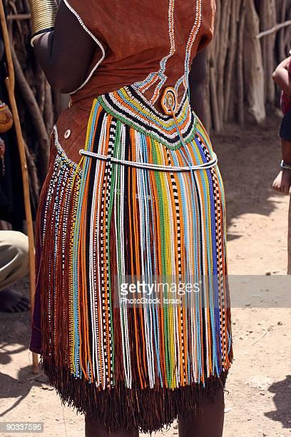Traditional colorful bead skirt