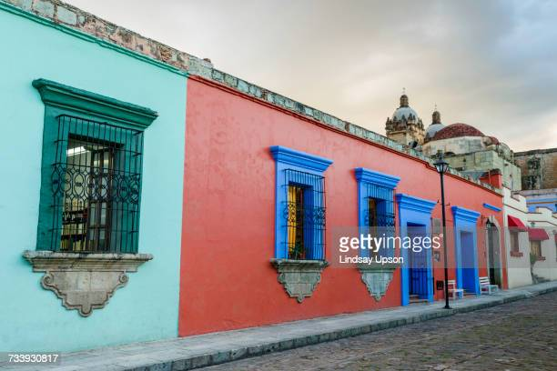 traditional, colourful, building exterior, oaxaca city, mexico - oaxaca stock pictures, royalty-free photos & images