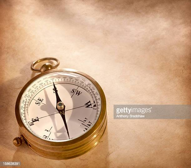 Traditional compass on painterly surface