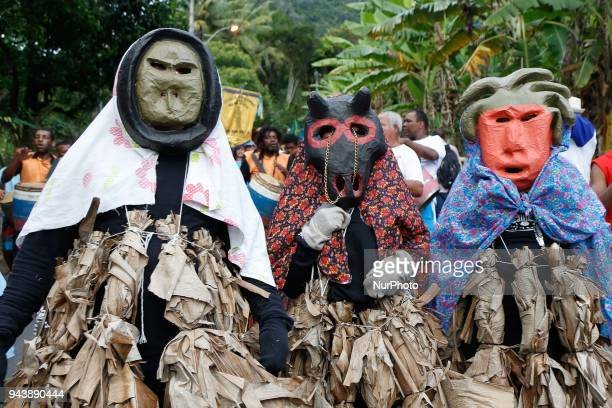Traditional 'Congo' dancers take part at the feast of Our Lady of Penha Patron of the state of Espirito santo in Roda Dagua City Brazil on 9 April...