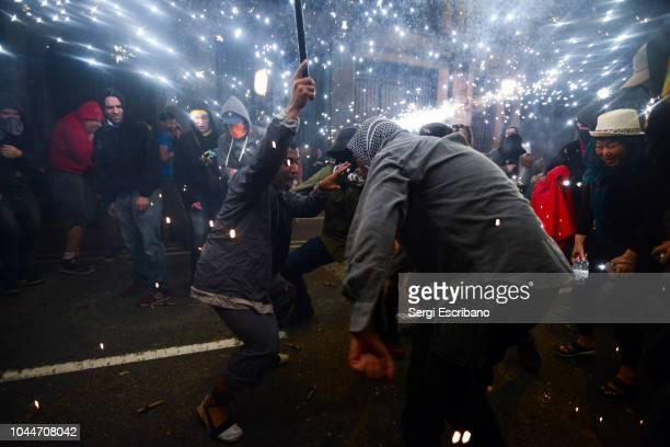 Traditional Correfocs(Fire-runs) during La Mercè festivities of Barcelona