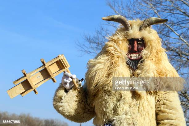 traditional costume on busojaras festival mohacs - devil costume stock photos and pictures