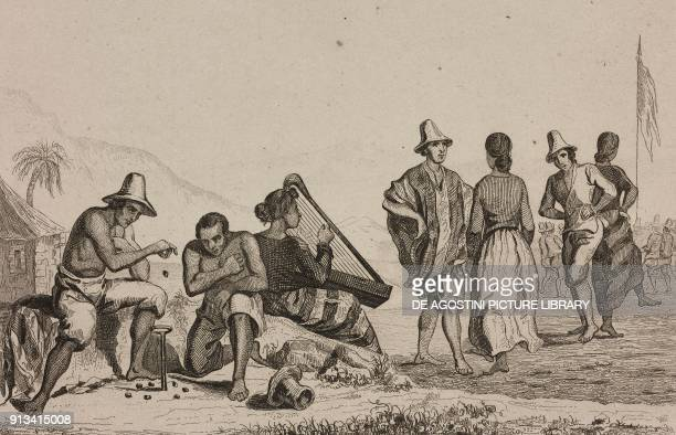 Traditional costumes people playing llighetun with beans and dancing Chile engraving by Vernier from Chili Paraguay BuenosAyres by Cesar Famin...