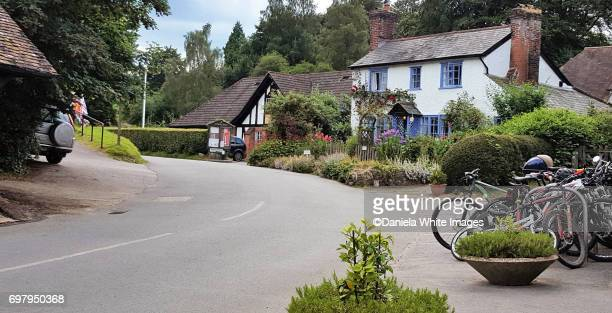 traditional countryside cottage at peaslake,surrey hills uk - surrey england stock pictures, royalty-free photos & images