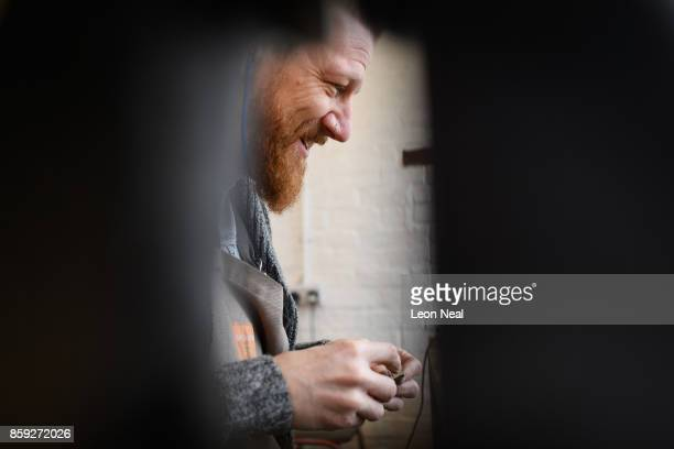 Traditional cutler Michael May works in his studio where he makes pen pocket and bowie knives on November 8 2016 in Sheffield England Michael works...