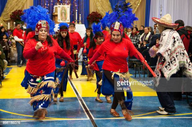 Traditional dance before mass at the Maryville Academy gymnasium The Feast Our Lady of Guadalupe celebration annual twoday feast celebration of...