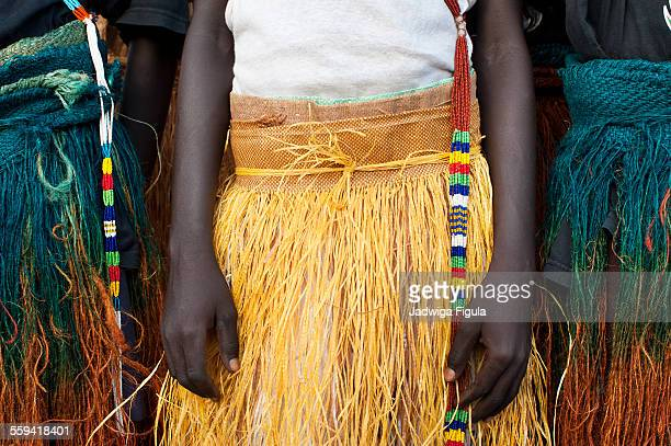 Traditional dance costume with beads. South Sudan.