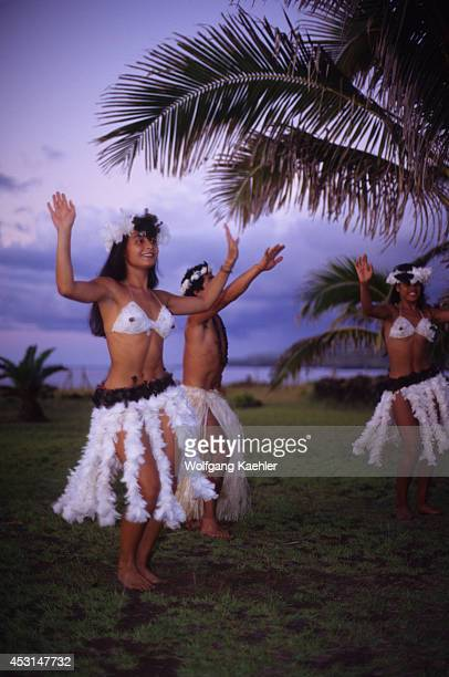 Traditional dances on Easter Island at sunset