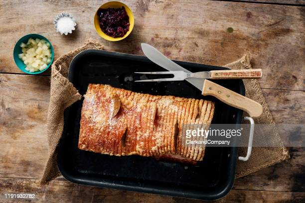 traditional danish dish of flæskesteg or roast pork. - danish culture stock pictures, royalty-free photos & images