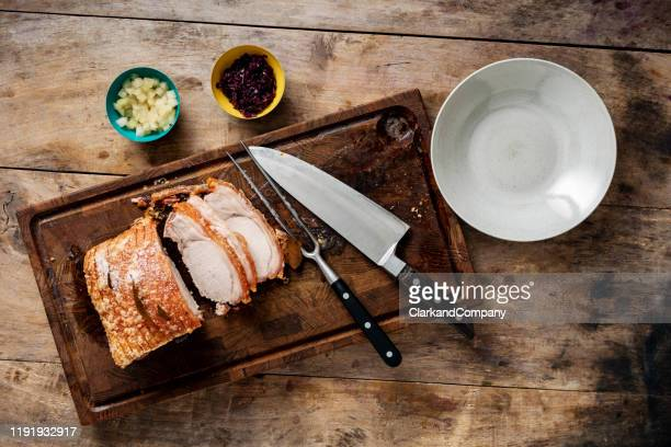 traditional danish dish of flæskesteg or roast pork. - tradition stock pictures, royalty-free photos & images