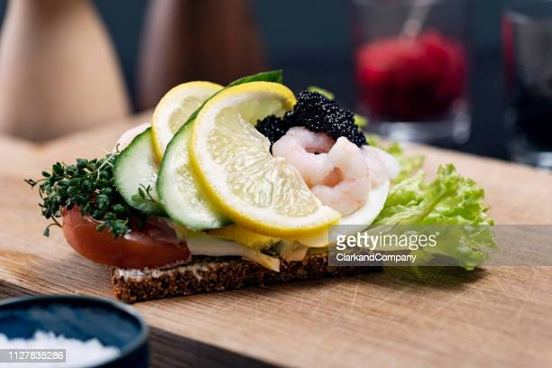 traditional danish open sandwich or smørrebrød - danish culture stock pictures, royalty-free photos & images
