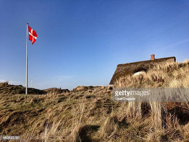 Traditional Danish summer house with thatched roof, Denmark
