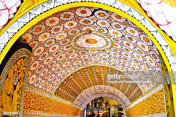 traditional design at temple of the tooth - dalada maligawa stock photos and pictures