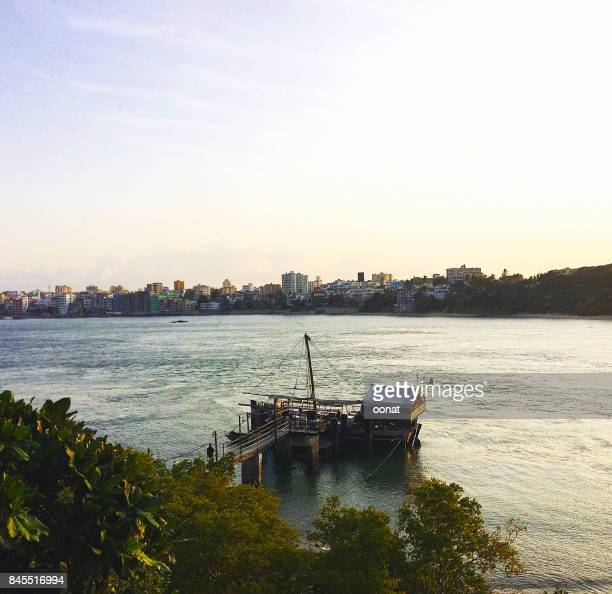 traditional dhow - mombasa stock photos and pictures