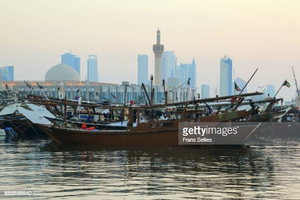 Traditional dhows in the harbor of Kuwait city, Kuwait