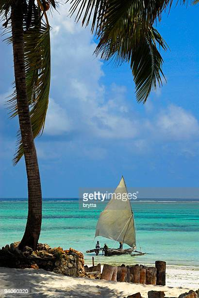 traditional dhow,zanzibar - zanzibar stock photos and pictures
