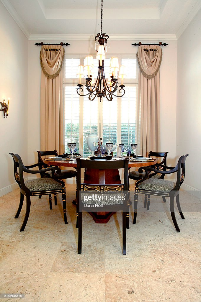 Traditional Dining Room With Hanging