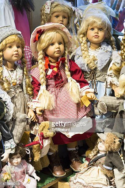 Traditional dolls and teddies on sale in Geschenkehaus shop in the town of Seefeld in the Tyrol Austria