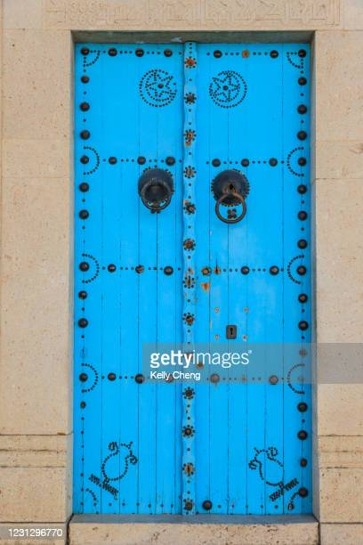 a traditional door in tunisia - north africa stock pictures, royalty-free photos & images