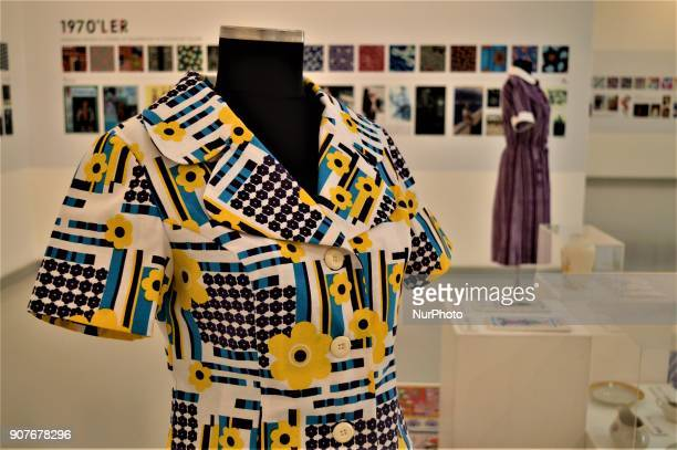 A traditional dress is seen as a part of the 'Dressing A Nation Sumerbank Patterns Between the Years of 19562000' Exhibition in Ankara Turkey on...