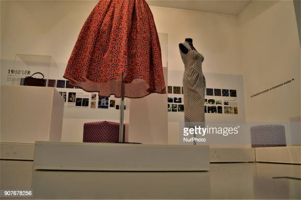 Traditional dresses are seen as a part of the 'Dressing A Nation Sumerbank Patterns Between the Years of 19562000' Exhibition in Ankara Turkey on...