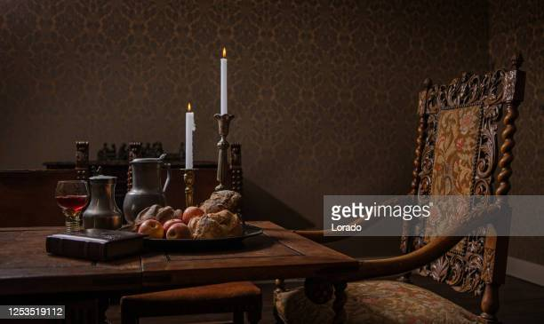 traditional dutch historical drawing room table scene - renaissance stock pictures, royalty-free photos & images