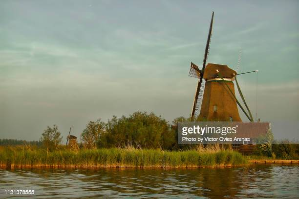 traditional dutch windmills and landscape at sunset in zaanse schans, netherlands - victor ovies fotografías e imágenes de stock