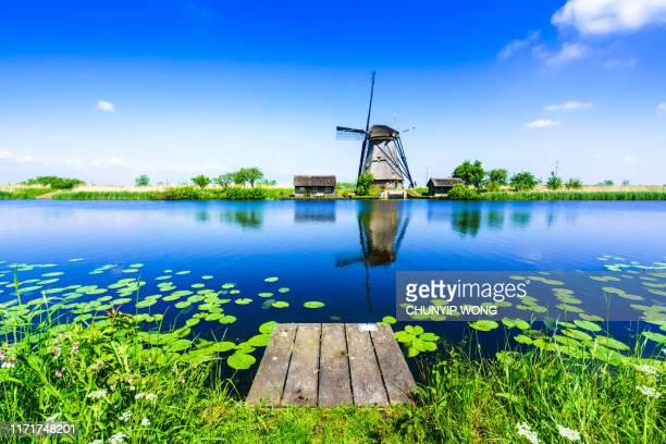 traditional dutch windmills at netherlands - paesi bassi foto e immagini stock