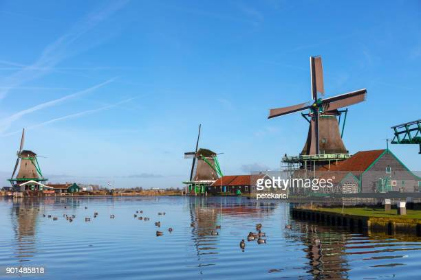 traditional dutch windmills at zaanse schans, amsterdam, netherland - old windmill stock photos and pictures