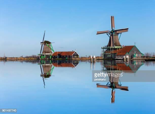 Traditional Dutch windmills at Zaanse Schans, Amsterdam, Netherland
