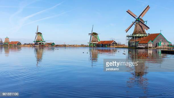 Traditional Dutch windmills at Zaanse Schans, Amsterdam, Netherland