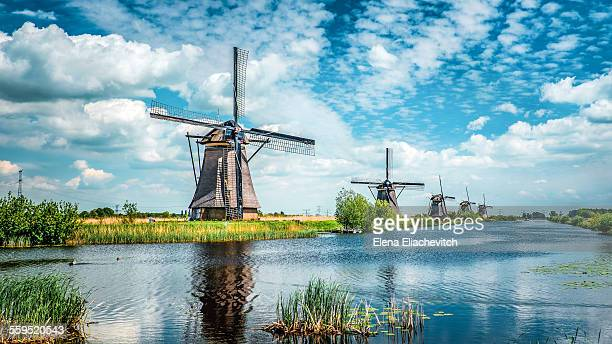 traditional dutch windmills - niederlande stock-fotos und bilder