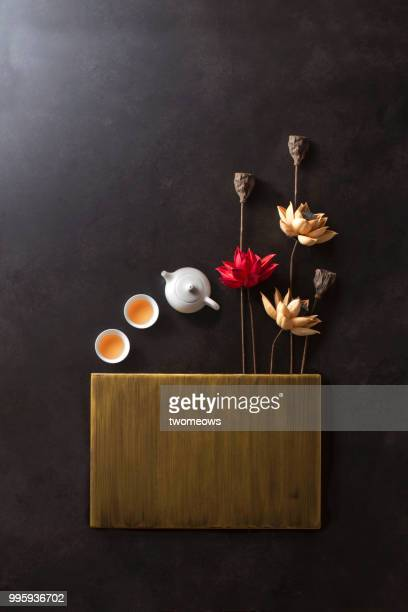 Traditional east asian still life background.