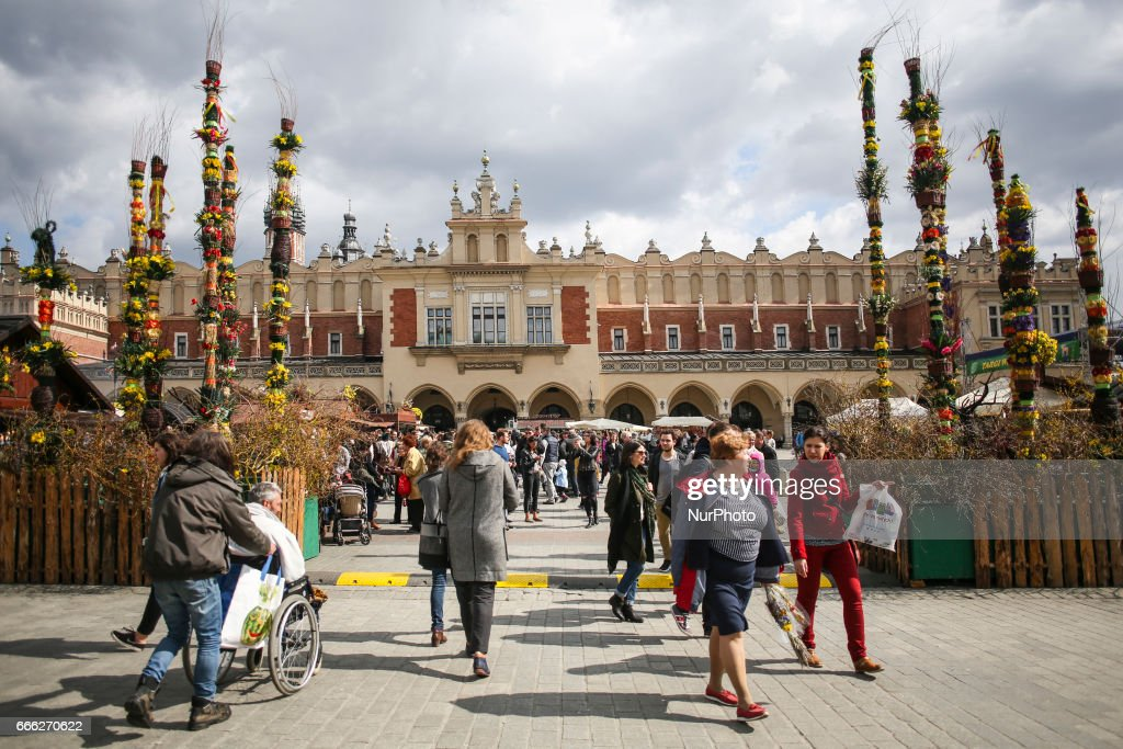 Traditional Easter palms decorations on Easter Market at the Main Square in Krakow, Poland on 8 April, 2017.