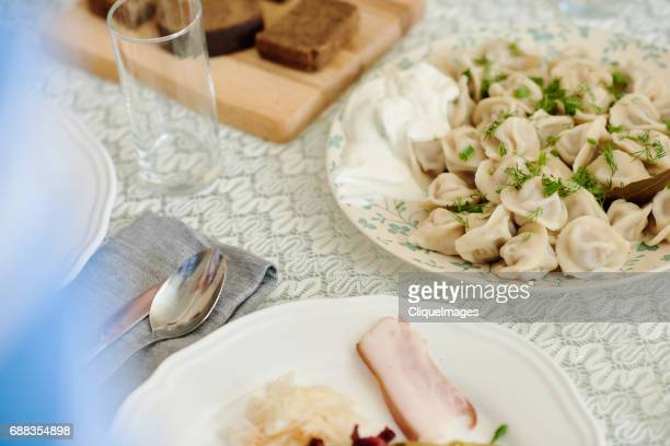 traditional eastern european dish on table - cliqueimages stock-fotos und bilder