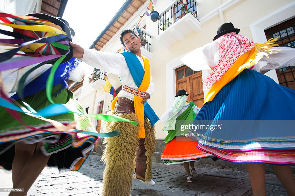 Traditional Ecuadorian dancers, Quito. Ecuador : Stock Photo