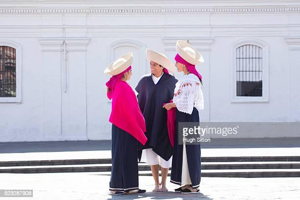 traditional ecuadorian dancers, quito. ecuador - hugh sitton stock pictures, royalty-free photos & images