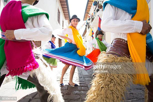 traditional ecuadorian dancers, quito. ecuador - hugh sitton bildbanksfoton och bilder