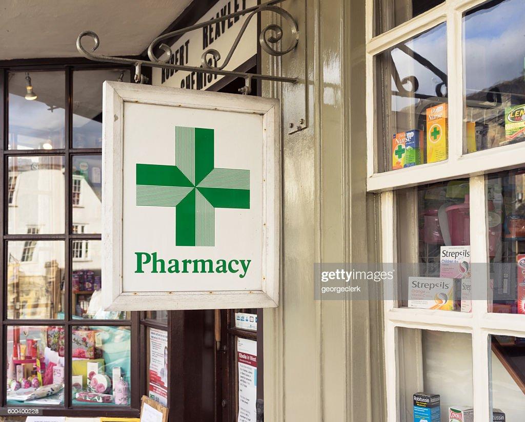 Traditional English pharmacy exterior : Stock Photo