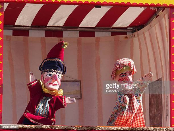 traditional english punch and judy puppets - puppet show stock photos and pictures