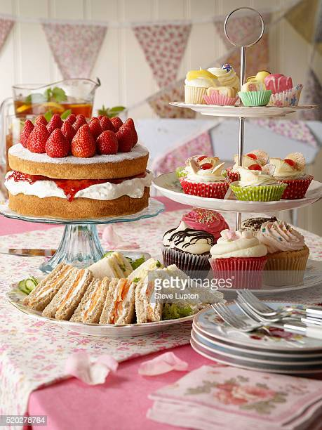 A traditional English summer tea of cakes and sandwiches