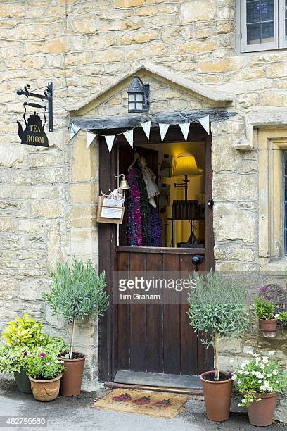 Traditional English tearoom with stable door half open in the quaint village of Castle Combe in Wiltshire The Cotswolds UK