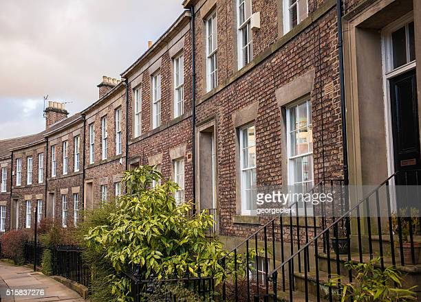 traditional english terraced houses in newcastle - newcastle upon tyne stock pictures, royalty-free photos & images
