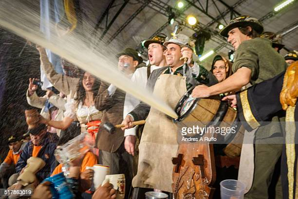 Traditional Espiche is the first ceremony to be performed on stage at the party Oktoberfest Argentina National Beer Festival in the town of Villa...