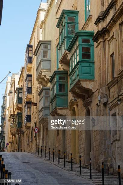 Traditional Facades in Old Valletta, Covered Balconies, Malta