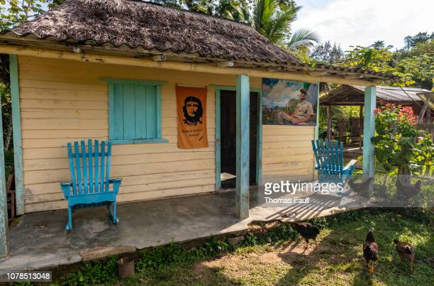 traditional farm shack with porch and che guevara poster - pinar del rio stock photos and pictures