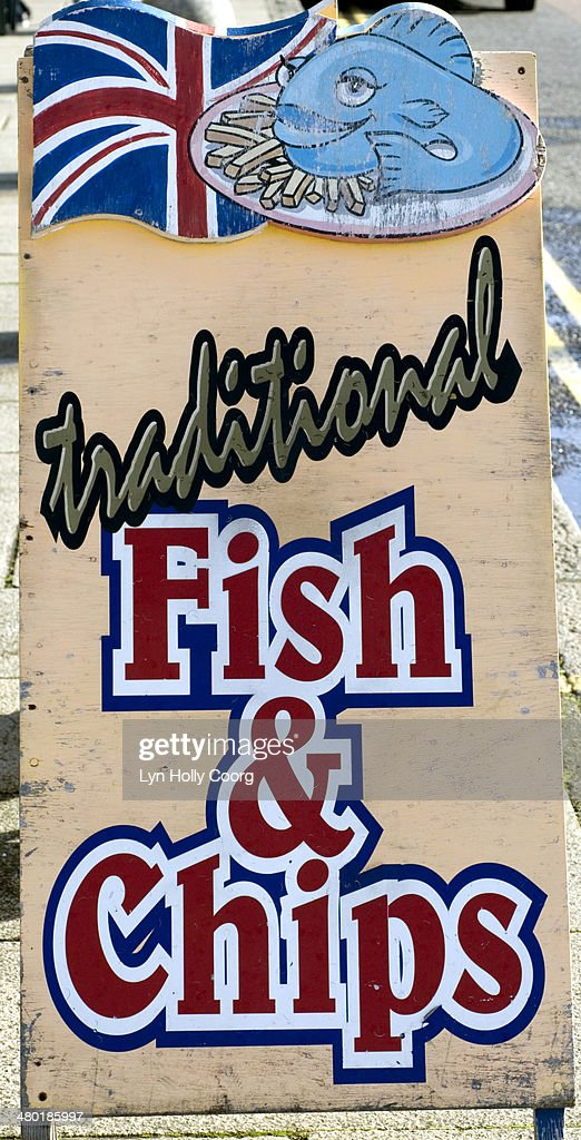 Traditional fish and chips sign : Stock Photo